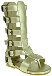 Gladiator 01K Little Girls Strappy Gladiator Buckled Flat Sandals Gold 7