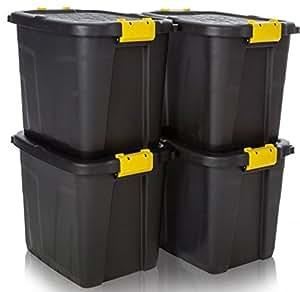 4 cajas de almacenamiento resistentes de 60 L, color negro, con asas amarillas