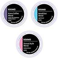 Amazon Brand – 100 Ct. Solimo Variety Pack Light and Medium Roast Coffee Pods (Kona, Breakfast, Donut), Compatible with Keurig 2.0 K-Cup Brewers