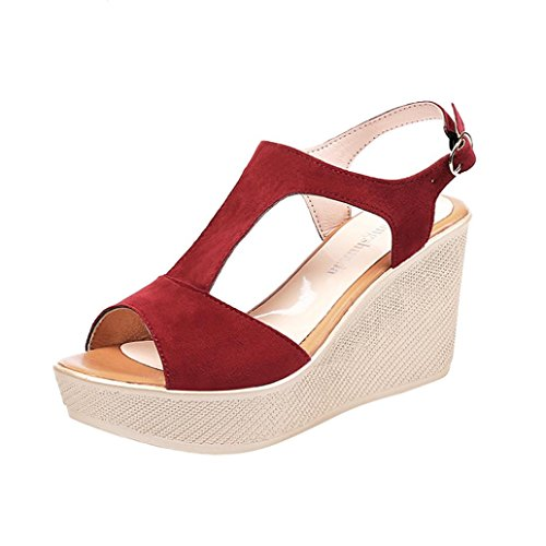 Women Casual Peep Toe Non-Slip Platform Wedge Heels Sandals Buckle Strap Shoes(Red, CN39(US 7))