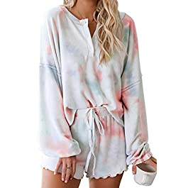 Women's Tie-Dye Pajama-Sets Long-Sleeve Tee Tops and Ruffle Short PJ Set Loungewear Nightwear Sleepwear