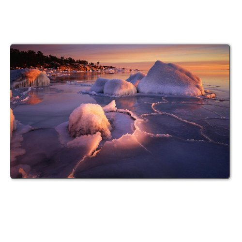 Icing Shores Sunset Landscape Scenery Table Mats Customized Made to Order Support Ready 28 6/16 Inch (720mm) X 17 11/16 Inch (450mm) X 1/8 Inch (4mm) High Quality Eco Friendly Cloth with Neoprene Rubber Luxlady Large Deskmat Desktop Mousepad Laptop Mousepads Comfortable Computer Place Play Mat Cute Gaming Mouse pads