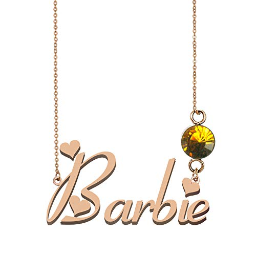 October Birthstone Barbie - Sterling Silver Name Necklaces Personalized 925 Birthstone Charms for Women Barbie
