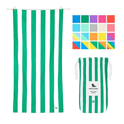 Dock & Bay Lightweight Beach Towels for Travel - Cancun Green, Extra Large (200x90cm, 78x35) - Pool Towel, Sand Free Beach Blanket