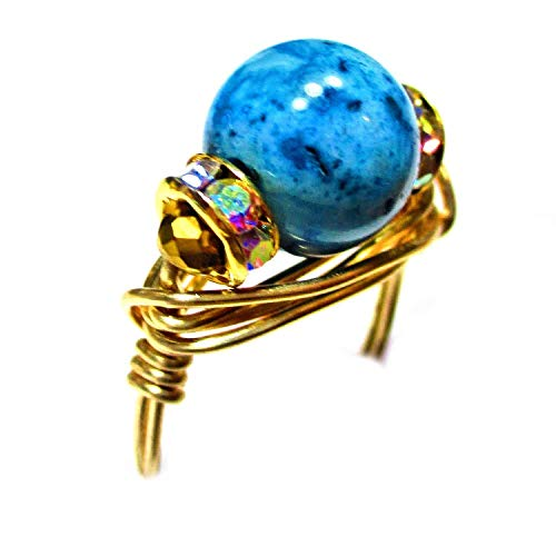 (African Aqua Blue Crazy Lace Agate Gemstone Imported Crystal Gold Wire Wrap Ring for Women Size 4-12 )