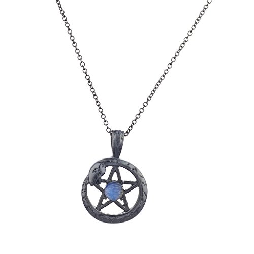 Lux Accessories Hematite Pentagram Snake Wrap Blue Opal Charm Pendant Necklace