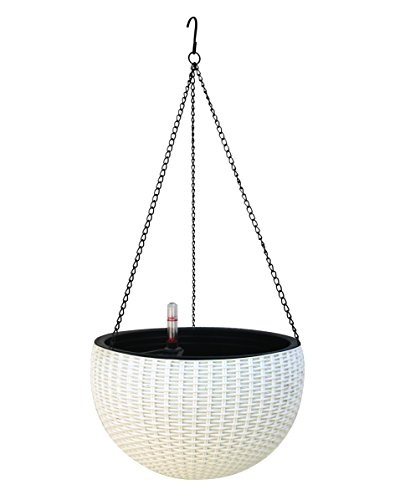 TABOR TOOLS TB702A Hanging Planter for Indoor and Outdoor Use, Elegant Round Plastic Wicker-Design Chain Basket for Flowers and Plants, Self-Watering with Water Level Indicator Gauge (White) by TABOR TOOLS