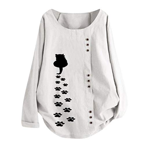1920s Cat Costumes - Womens Casual Cotton Linen Long Sleeve