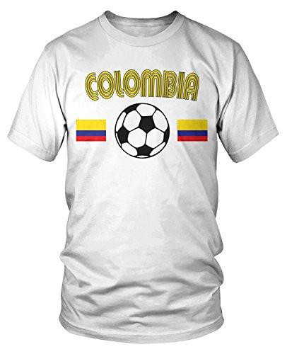 (Amdesco Men's Colombia Soccer, Colombian Football T-Shirt, White Large)