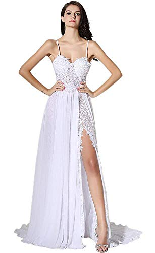 ESY Women's Spagetti Chiffon Empire Backless Beach Wedding Dress White US12