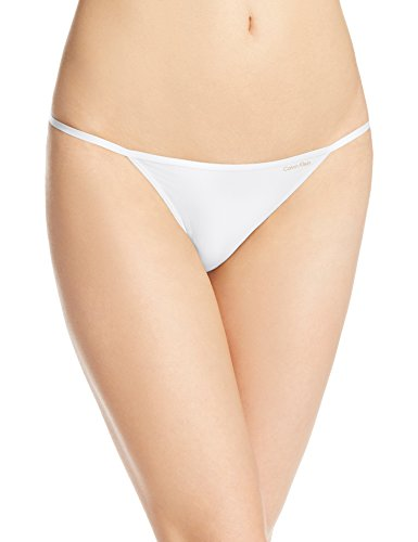 Calvin Klein Women's Sleek String Bikini Panty, White, Medium