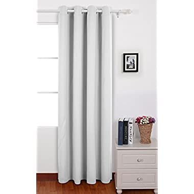 Deconovo Room Darkening Thermal Insulated Blackout Grommet Window Curtain Panel For Living Room, Star White, 52x63 Inch