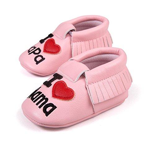 R & V 0–18M unisex bebé Mocasín I Love Mama Papa suave suela sintética borla zapatos de bebé perwalker 6colores negro negro Talla:11cm/ 4.25in rosa
