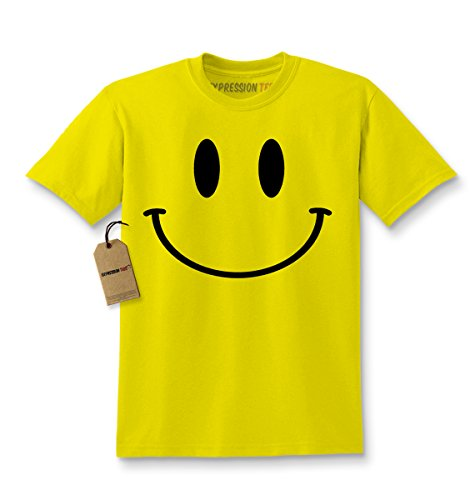 Kids Big Smiley Face T-Shirt X-Small Yellow