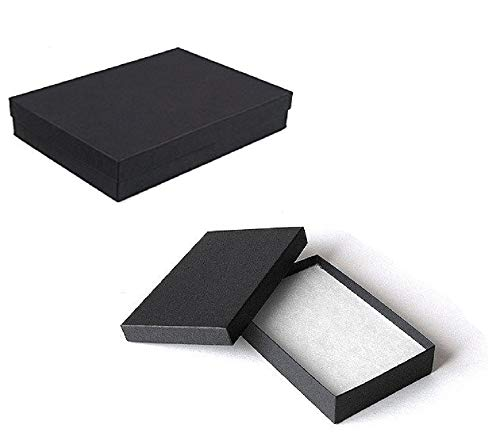 10 Pack Cotton Filled Matte Black Color Jewelry Gift and Retail Boxes 5.25 X 3.75 X 1 Inch Size by R J Displays ()
