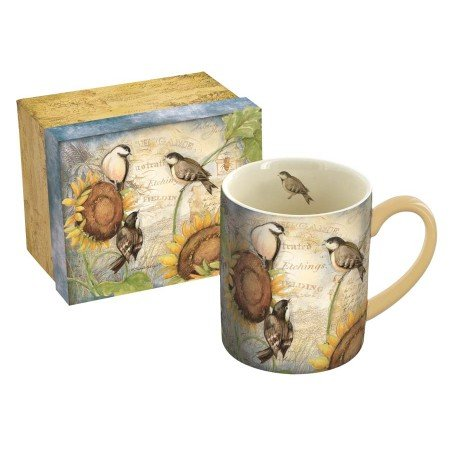 LANG - 14 oz. Ceramic Coffee Mug -Sunflower Birds, Art by Susan Winget - Chickadees & Sunflowers