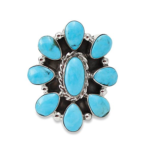 Navajo Silver Turquoise Cluster Ring Size (Navajo Silver Turquoise Cluster)