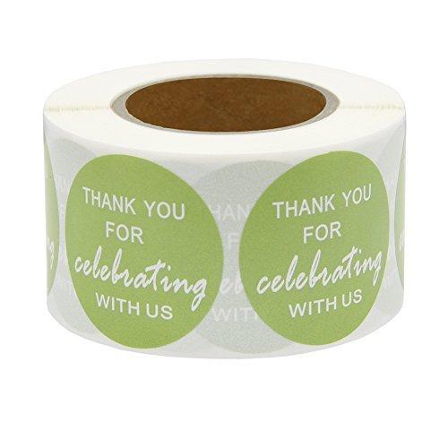 Hcode - Etiquetas redondas de regalo de 1,5 pulgadas (500 unidades, por rollo), diseño de agradecimiento por celebrar con...