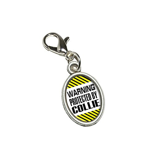Graphics and More Warning Protected By Collie Antiqued Bracelet Pendant Zipper Pull Oval Charm with Lobster Clasp