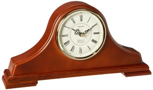 Seiko Mantel Chime Clock Dark Brown Solid Oak tambour (Brown Oak Case)