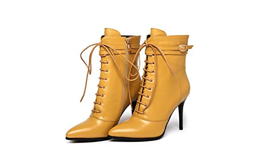 CXQ-Boots qin&X Women's Stiletto High Heels Pointed Toe Ankle Boots Shoes Yellow Bc083