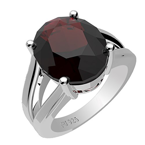3.90ctw,Genuine Garnet 9x11mm Oval & Solid .925 Sterling Silver Ring (Size-7) (3.90 Ring)
