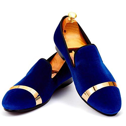 Heren Kledingschoenen Klassieke Fluwelen Loafers Met Gouden Plaat