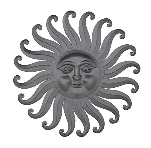 Ten Waterloo 30 Inch Metal Sun Wall Art Sculpture, Charcoal Grey Finish]()