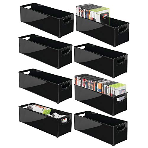 (mDesign Plastic Stackable Household Storage Organizer Container Bin with Handles - for Media Consoles, Closets, Cabinets - Holds DVD's, Video Games, Gaming Accessories, Head Sets - 8 Pack - Black)