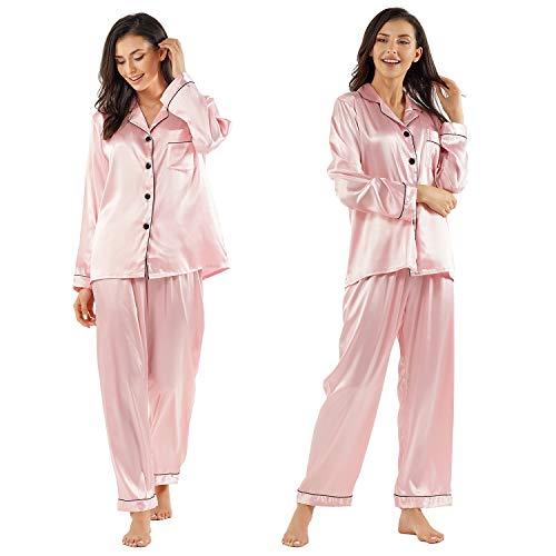 GAESHOW Women's Satin Silk Pajamas Set Long Sleeve Button-Down Pj Set Sleepwear Nightwear Loungewear Two Piece Pj Sets