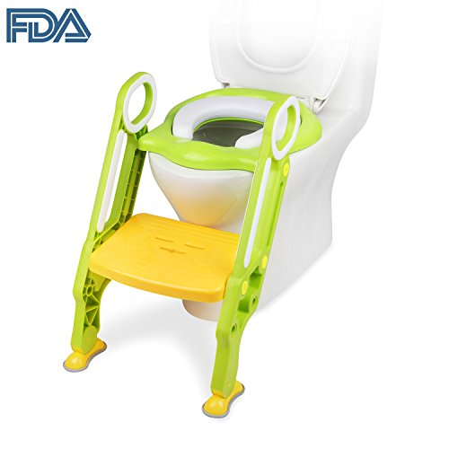 [FDA Certified] Ostrich Toilet Step Trainer Ladder for Kid and Baby, Childrens Toilet Seat Chair, Toddlers Toilet Training Step Stool for Girl and Boy (Green)