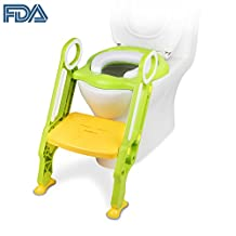 [FDA Certified] Ostrich Toilet Step Trainer Ladder for Kid and Baby, Children's Toilet Seat Chair, Toddlers Toilet Training Step Stool for Girl and Boy, Green