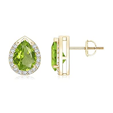 0464f31f69325a Pear-Shaped Peridot Stud Earrings with Diamond Halo in 14K Yellow Gold  (8x6mm Peridot