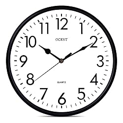 OCEST 13 Inch Indoor Outdoor Wall Clock Large Display Battery Operated Quartz Decorative Clock Silent Non-Ticking Round Easy to Read for Pool Garden Patio Office Living Room