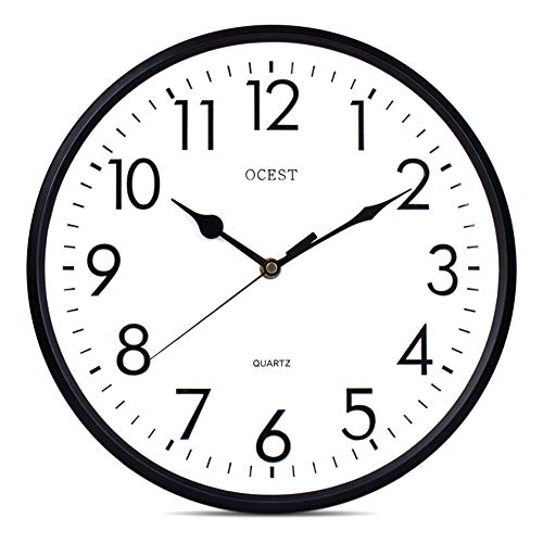 OCEST Large Indoor Outdoor Wall Clock, 12 Inch Battery Operated Quartz Decorative Wall Clock Silent Non-Ticking Round Easy to Read for Indoor Outdoor Home Garden Patio Office