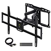 "#LightningDeal USX MOUNT Full Motion TV Wall Mount Bracket Dual Swivel Articulating Tilt 6 Arms for Most 37-75 inch Flat Screen, LED, 4K TVs, with Max VESA 600x400mm and Fits 12"" 16"" Studs"