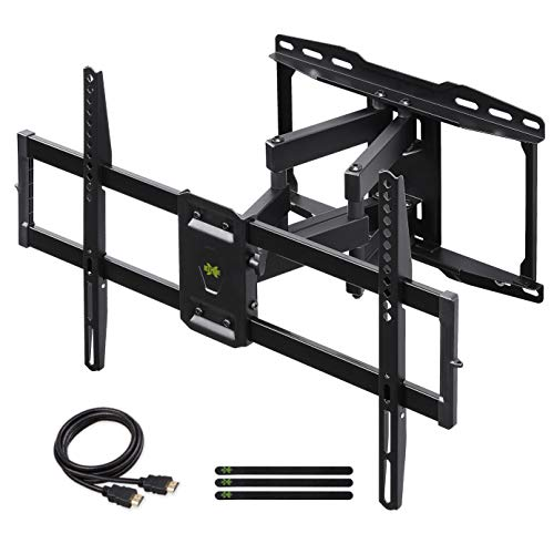 USX MOUNT Full Motion TV Wall Mount Bracket Dual Swivel Articulating Tilt 6 Arms for Most 37-75 inch Flat Screen, LED, 4K TVs, with Max VESA 600x400mm and Fits 12