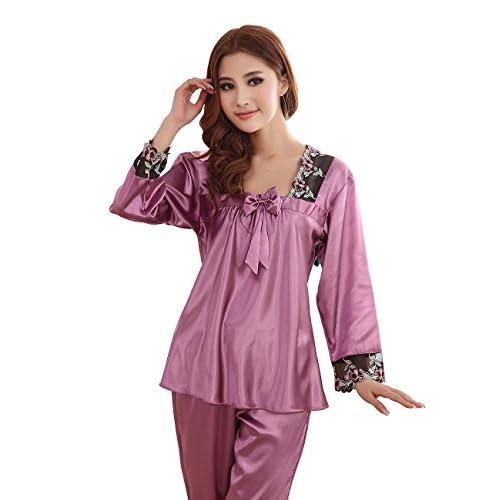 9eaac1bd46 FAPIR Pijama Camisón Ropa para Dormir de Manga Larga de Satén de Seda  Verano para Mujer