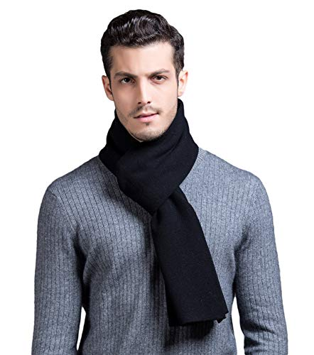 (RIONA Men's 100% Australian Merino Wool Scarf Knitted Soft Warm Neckwear with Gift Box(Black) )