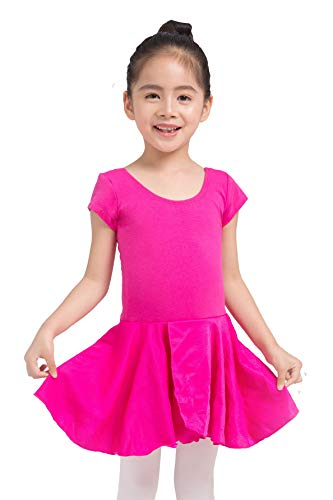 Dancina Girls Leotard Ballet Dress Short Sleeve Full Front Lining 8 Hot Pink