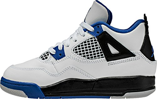 Jordan Retro 4 ''Motor Sports'' White/Game Royal-Black (Little Kid) (12 M US Little Kid) by Jordan