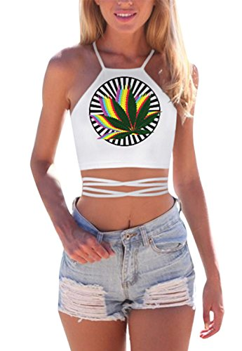 JomeDesign Women's Summer Halter Cross Hollow Boho Bandage Tank Camis Crop Top Vest - Rave Outfits Cheap