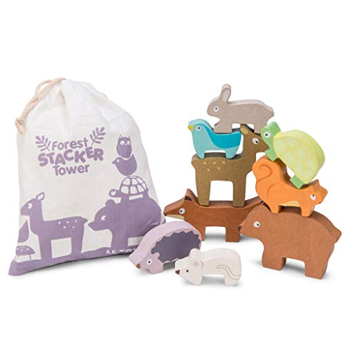 Le Toy Van Petilou Wooden Forest Stacker Tower & Bag Set Premium Wooden Toys for Kids Ages 12 Months & Up