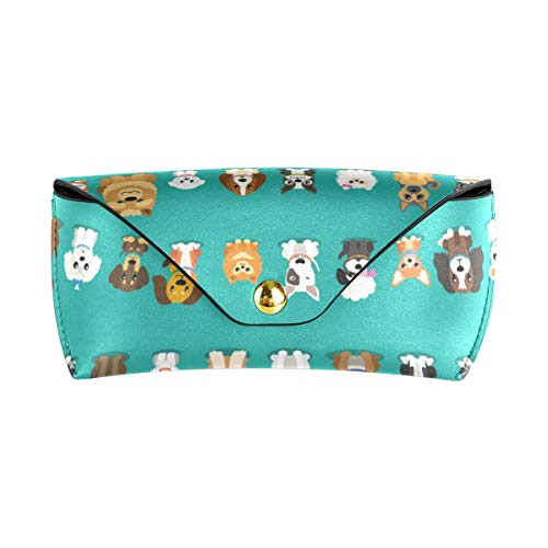 AGONA Portable Sunglasses Case Cartoon Animal Dogs Eyeglasses Goggles Case Holders PU Leather Sunglasses Pouch Eyewear Bag for Woman Men Ladies Girls