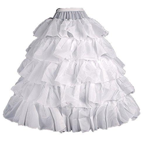 Ruffle Petticoat (Lisadress 4 Bone Full Hoop Bridal Crinoline Petticoat Skirt Slip Ruffles)