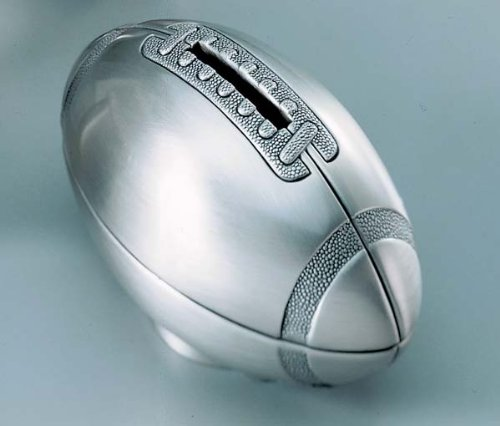 Non-Tarnish Pewter Plated Finish Football Shaped Coin Savings Bank