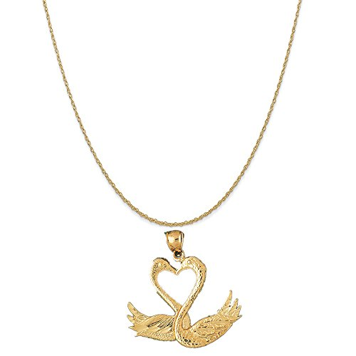 - 14k Yellow Gold Swan Pendant on a 14K Yellow Gold Rope Chain Necklace, 18