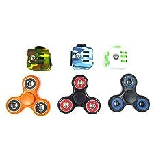 Oliasports Anxiety Attention 3-Piece Fidget Cube and 3-Piece Fidget Spinner Set