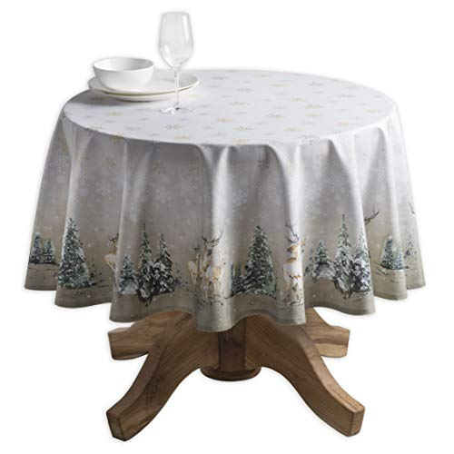 Maison d' Hermine Deer in The Woods 100% Cotton Tablecloth 69 Inch Round. -