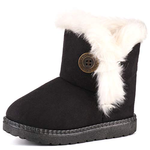 Femizee Girls Boys Warm Winter Flat Shoes Bailey Button Snow Boots(Toddler/Little Kid),Black,1929 CN21